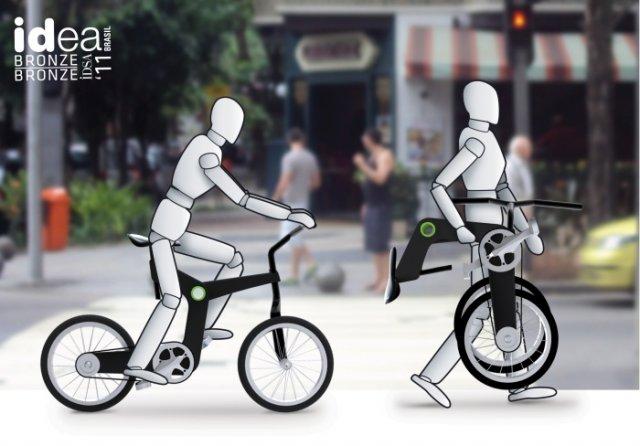 Складная конструкция велосипеда позволяет перевести его в компактное положение всего несколькими движениями.