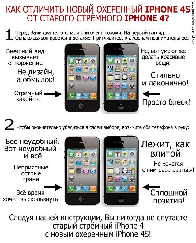 Как отличить новый iPhone 4S от старого iPhone 4 ?