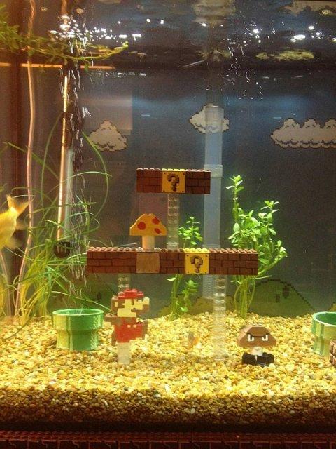 Guy Creates Super Mario Bros Scene Inside Fish Tank, Not the ...