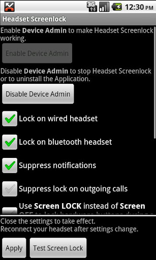 Headset Screenlock 2.3 - Блокирует экран и кнопки телефона во время разговора по гарнитуре