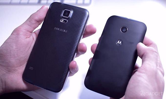 Motorola Moto E работает быстрее Samsung Galaxy S5 (видео)