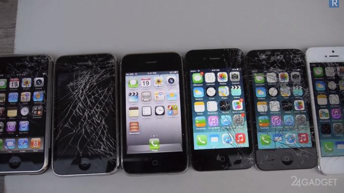 Краш-тест десяти айфонов (видео)