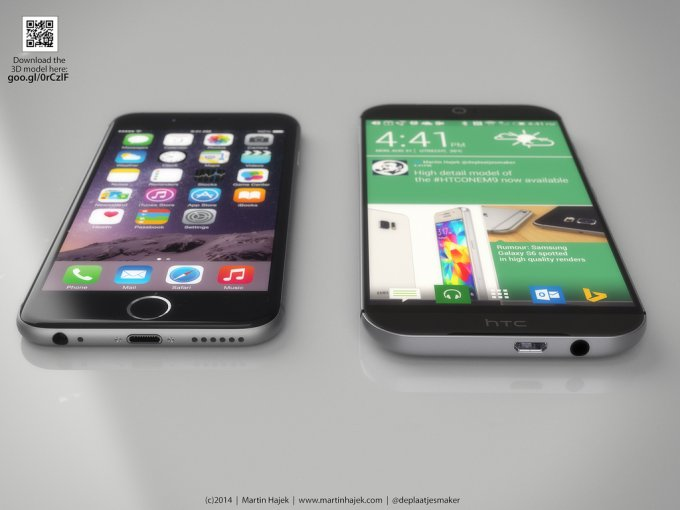Концепты HTC One M9 и Galaxy S6 сравнили с iPhone 6 (24 фото)