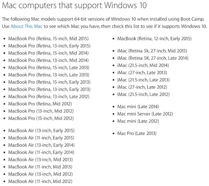 В Boot Camp добавлена поддержка Windows 10