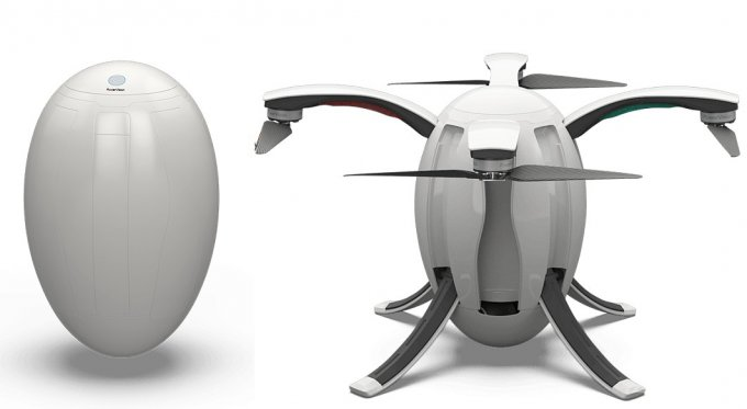 Складной дрон в форме яйца умеет снимать 4К-видео (5 фото + видео)