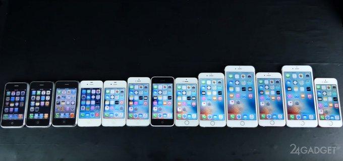 Сравнение производительности всех моделей iPhone (3 фото + видео)