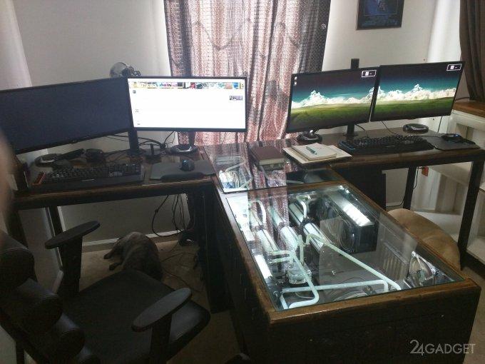 Самодельный компьютерный стол на 2 ПК и сервер (28 фото)