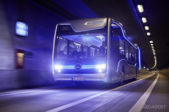 Беспилотный автобус от Mercedes-Benz успешно прошёл испытания (5 фото + видео)