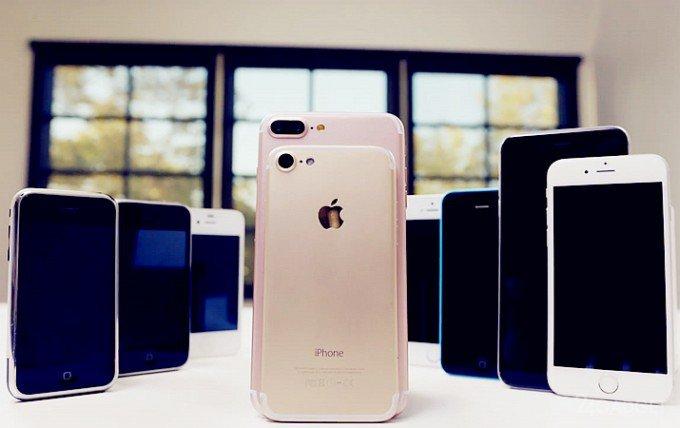 iPhone 7 Plus сравнили со всеми предыдущими iPhone (видео)