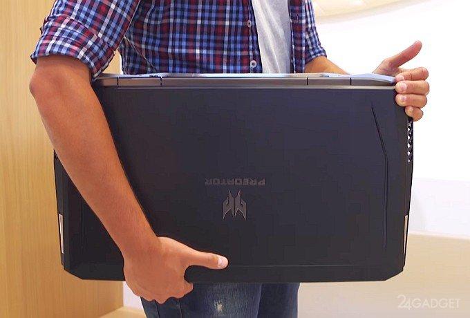 Представлен 21-дюймовый ноутбук с изогнутым дисплеем и механической клавиатурой (27 фото + видео)