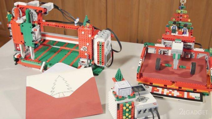 Принтер из конструктора LEGO создает новогодние открытки (видео)