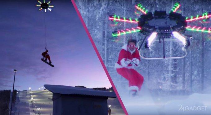 Современный Дед Мороз летает на дроне (видео)