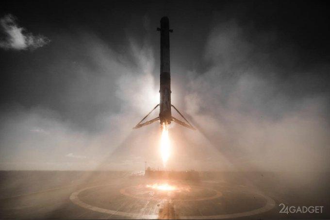 Видео посадки многоразовой первой ступени ракеты Falcon 9