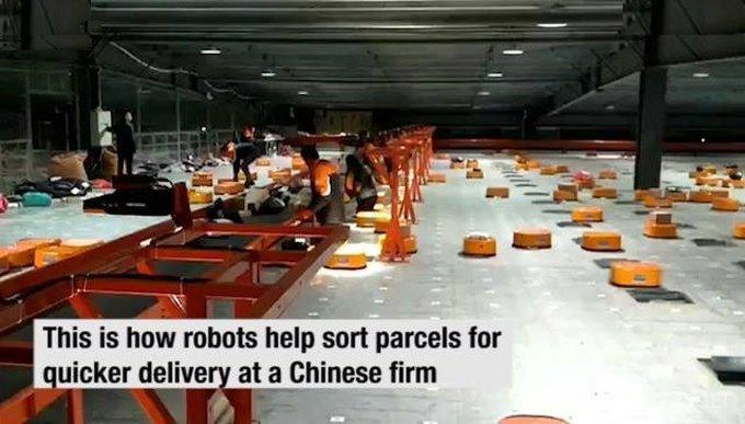 Китайские роботы-сортировщики (видео)