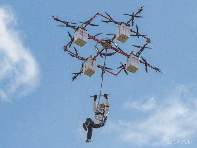 Совершен первый в мире прыжок человека с летящего дрона (3 видео)