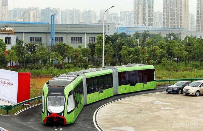 В Китае испытывают гибридный общественный транспорт на основе автобуса и трамвая