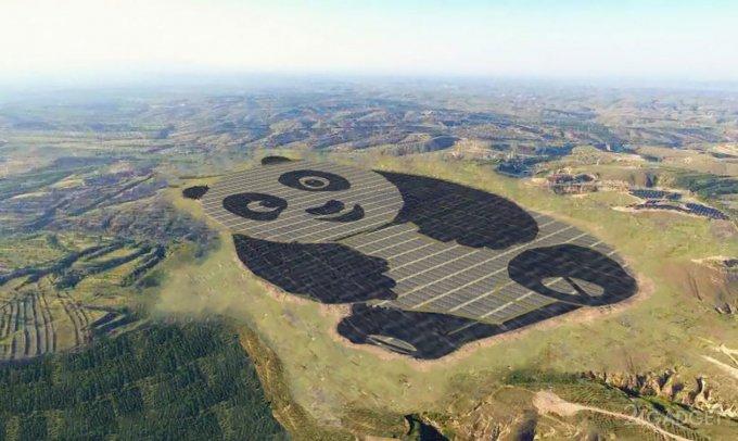 Китайцы построили пандообразную солнечную электростанцию (2 фото)