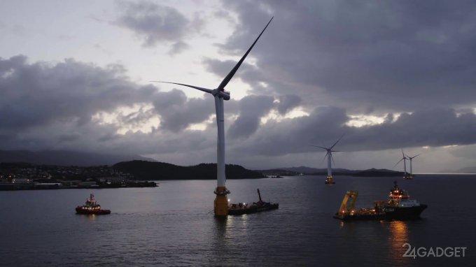 Первая плавучая ветряная электростанция (4 фото + видео)