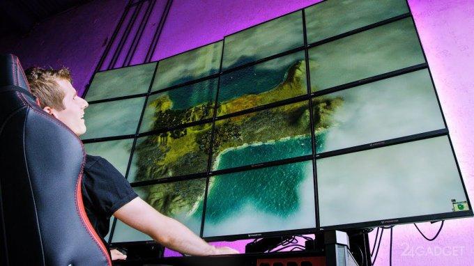 Блогеры сыграли в Minecraft, объединив 16 мониторов в один (видео)