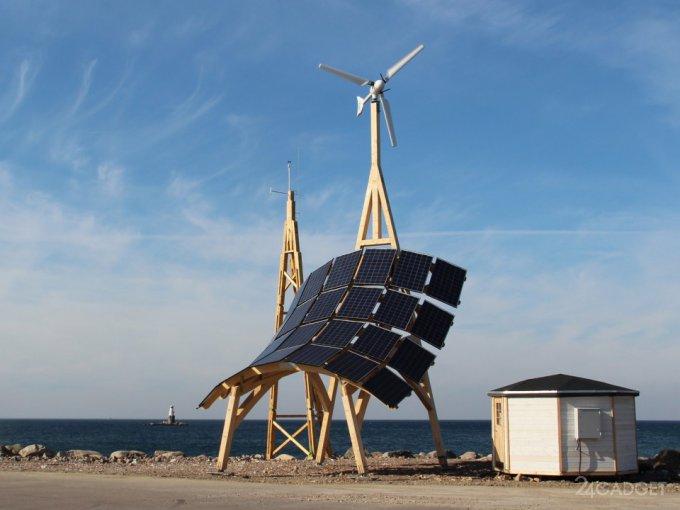 Комбинированная установка для сбора энергии солнца и ветра (6 фото + видео)
