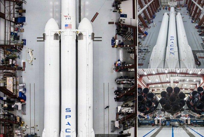 Появились первые снимки ракеты-носителя Falcon Heavy