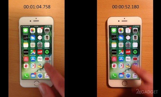 Сравнение скорости работы iPhone 6s до и после замены батареи