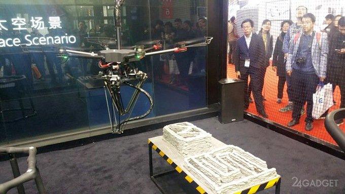 Летающий 3D-принтер заменит рабочих на стройке (видео)