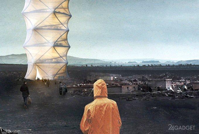 Пострадавшим от стихий предложат временные оригами-небоскребы (4 фото)