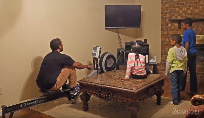 Находчивый отец придумал, как, используя любовь к видеоиграм, приобщить детей к спорту (видео)