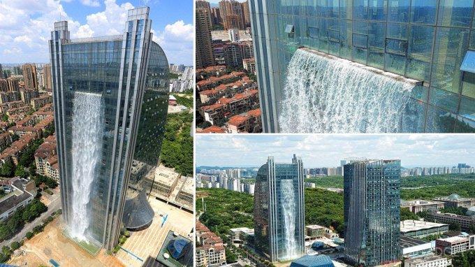 Китайский небоскреб превратили в 100-метровый водопад (5 фото + видео)