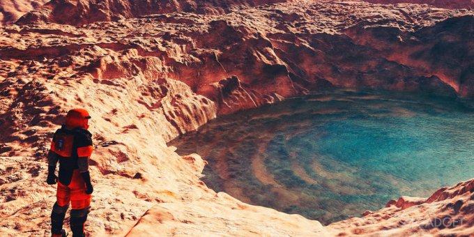 На Марсе найдено озеро с жидкой водой (3 фото)