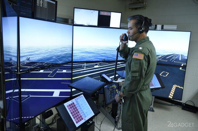 В США экипаж для авианосцев обучают в виртуальном симуляторе (видео)