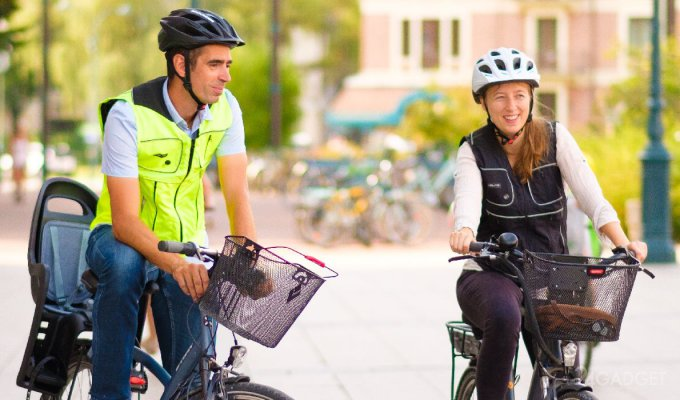 Велосипедный жилет B'Safe с подушкой безопасности убережёт от травм (4 фото + 2 видео)