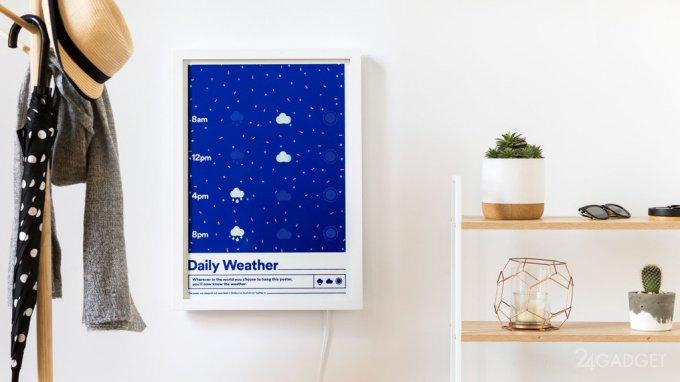 Смарт-плакат с Wi-Fi покажет погоду на день (4 фото + видео)