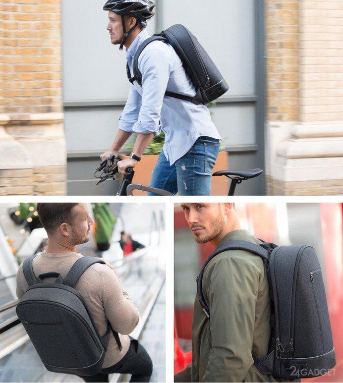 Agazzi: смарт-рюкзак со сканером отпечатков пальцев и подсветкой