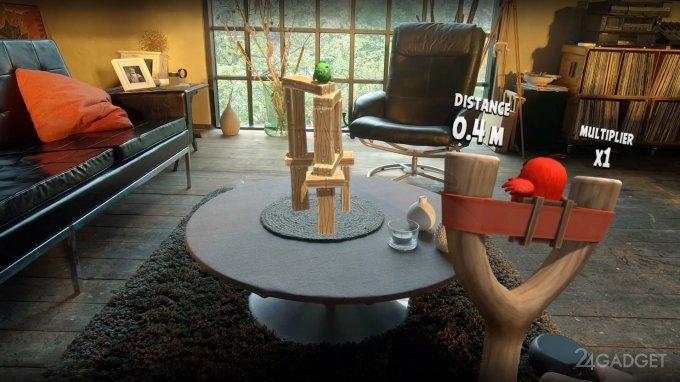 Игру Angry Birds перенесли в дополненную реальность (3 фото + видео)