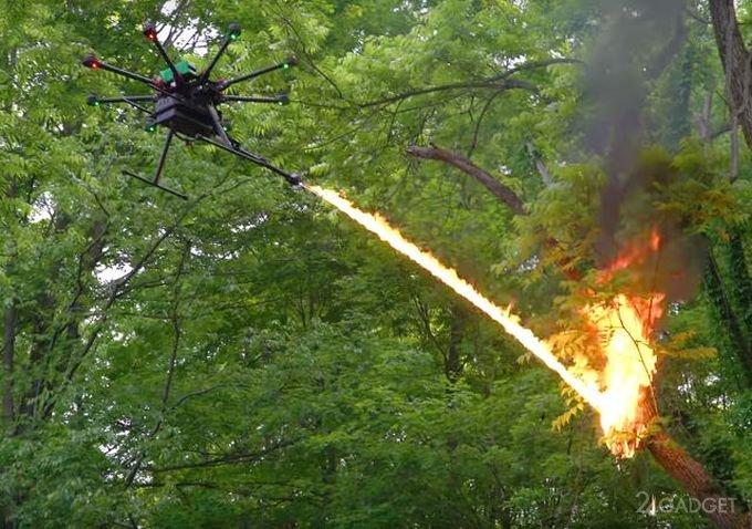 Для дронов начали продавать огнемёты (3 фото + видео)