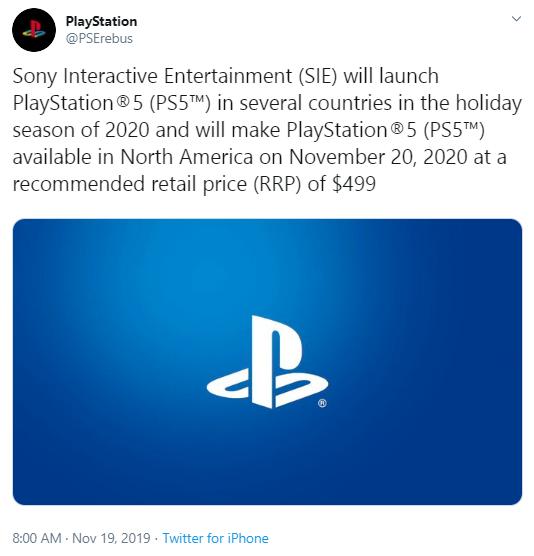Инсайдер рассекретил дату выхода и цену PlayStation 5