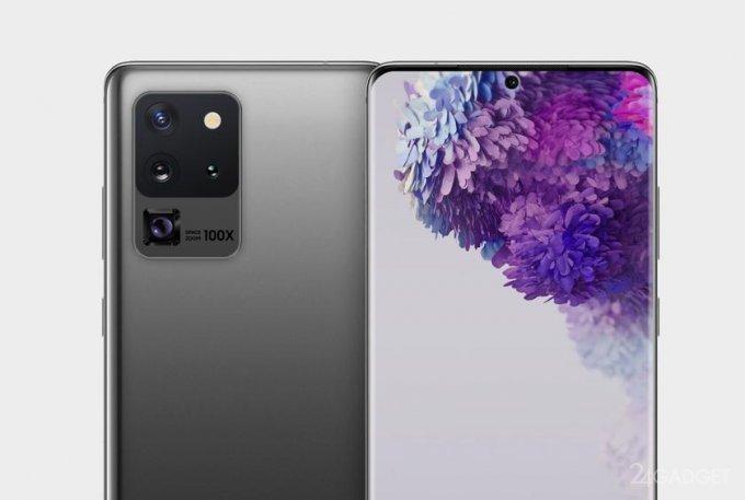 Основная камера Samsung Galaxy S20 Ultra получит 4 сенсора и 100 кратное увеличение (2 фото)
