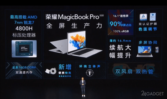Ноутбук Honor MagicBook Pro 2020 Ryzen Edition вышел в Китае по цене 671 доллар