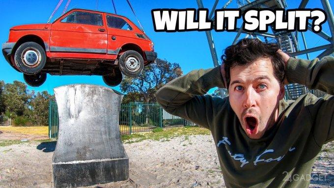 Что будет если сбросить автомобиль на большой топор?