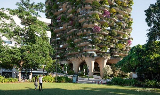 Жилой дом Urban Forest с встроенным парком возведут в Брисбене в Австралии (4 фото)