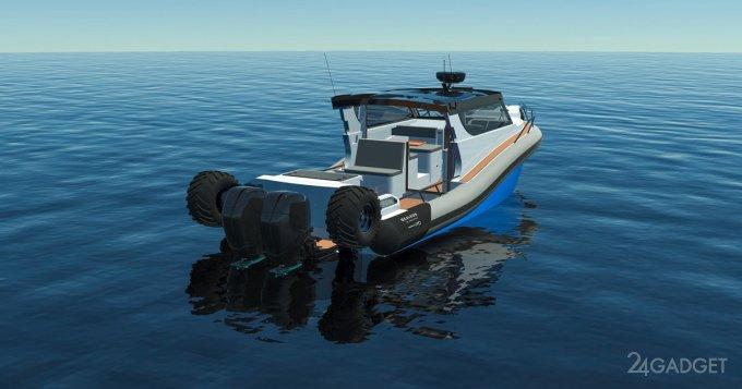 Самый большой серийный катер амфибия Sealegs развивает скорость на воде до 75 км/ч (3 фото + видео)