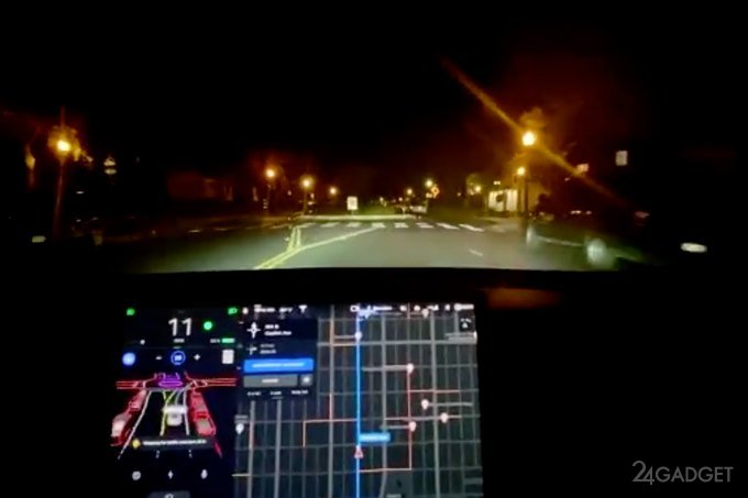 Видео демонстрирует бета-тест полностью автономного автопилота для электрокаров Tesla