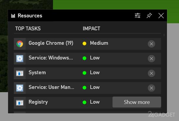 Приложение Xbox Game Bar способно контролировать выявлять приложения расходующие ресурсы ПК