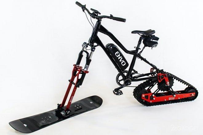 Устройство Electric SnowBike Kit от Envo поставит велосипеды на лыжи (3 фото + видео)