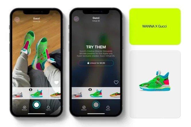Реальные деньги за виртуальные кроссовки Gucci (3 фото)