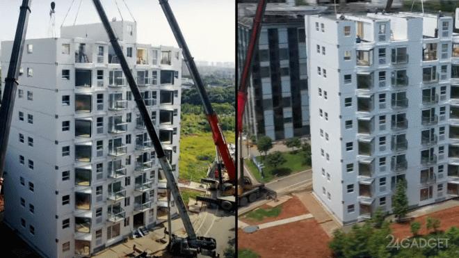 В Китае на строительство 10-ти этажного крупнопанельного дома потребовалось чуть большее суток