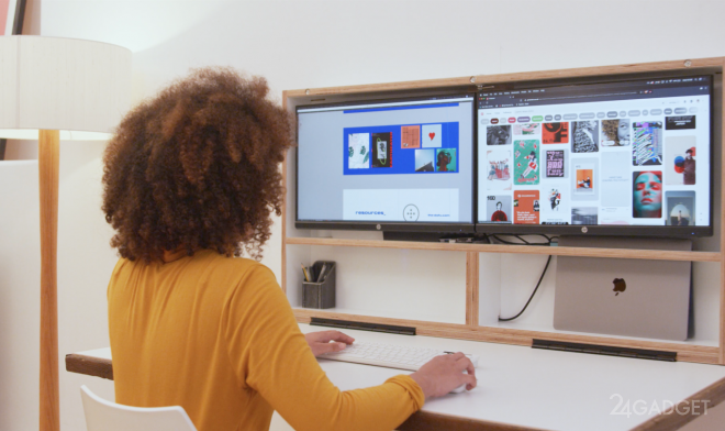 Компьютерный стол DropTop трансформируется в настенную картину (4 фото)