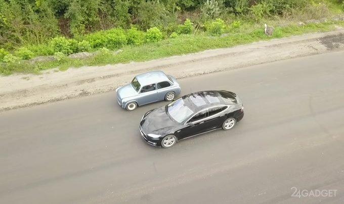 Электрический Запорожец оказался быстрее Tesla Model S (видео)